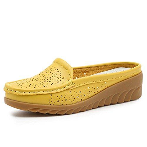 Heart&M Sólido tacón grueso de la plataforma del talón del cuero genuino de los deslizadores de las sandalias de color Hollw mollete Suela de cuña de las mujeres Yellow