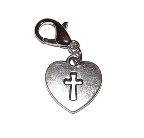 Cross Heart Clip on Charm – Easy to Use – Dangle for Floating Locket Necklaces, Charm Bracelets, Purse Decoration - Purse Dangle Charm