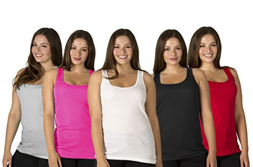 5 Pack Women's 100% Cotton Layering A-Shirts Full Muscle Back Plus Size Ribbed Tank Tops - Assorted Colors