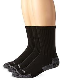 Carhartt Men\'s 3 Pack All-Season Cotton Crew Work Socks,  Black, Shoe: 5-10