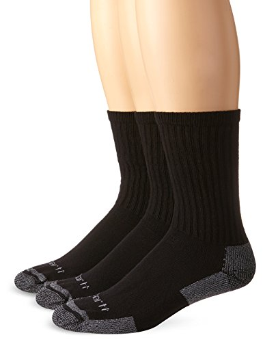 Carhartt Men's 3-Pack Standard All-Season Cotton Crew Work Socks, Black, Large(Shoe 6-12/Sock Size: 10-13) (Nylon Heels Stretch)