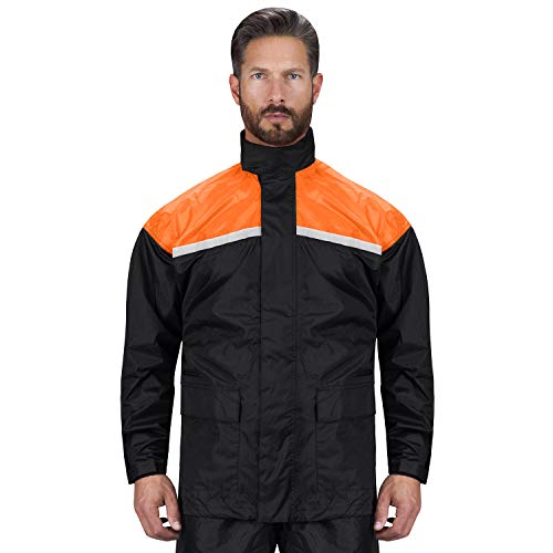 Viking Cycle Motorcycle Rain Gear - Two Piece Motorcycle Rain Suit (Orange, M)
