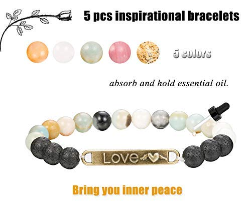 Finrezio 5 PCS Bead Bracelets for Women Aromatherapy Essential Oil Diffuser Natural Lave Rock Stone Bracelet Set 8MM (Style A: 5 PCS of Elastic) by Finrezio
