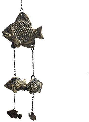 アンティーク 調 ドアベル 鋳鉄工芸浮動魚のレトロドアベルホームレトロな装飾オーナメント 呼び鈴 アイアン (Color : Brass, Size : One size)