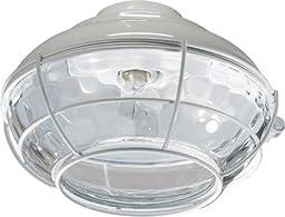 Quorum 1374-806, Medium Clear Hammered Glass Patio Light Kit, White