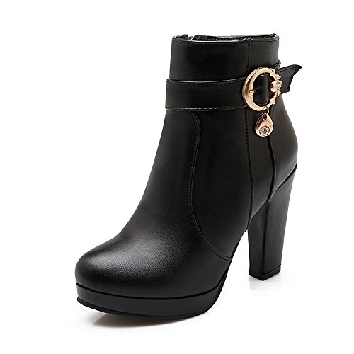 Heels Boots Closed Black Material Low WeenFashion Toe Round High Top Solid Soft Women's TfRqXwxO