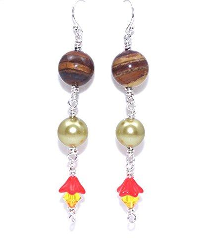 (Gemstone Earrings - Brown Jasper Czech Glass Long Dangle Earrings - Sterling Silver Earrings - Unusual Jewelry - Thank You Gift )
