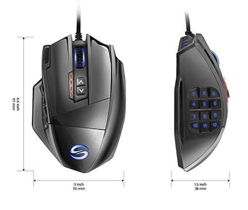 Gaming Mouse, UtechSmart Venus 16400 DPI High Precision Laser MMO Gaming Mouse Vacuum Plating Version by UtechSmart (Image #2)