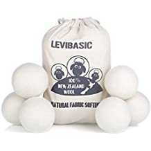 "Wool Dryer Balls 6 Pack XL, 3"" Genuine New Zealand Merino Wool to Core, 100% Organic Natural Fabric Softener, Baby Safe & Chemical Free, Reduce Wrinkles & Shorten Drying Time by LEVIBASIC (White-6pcs)"