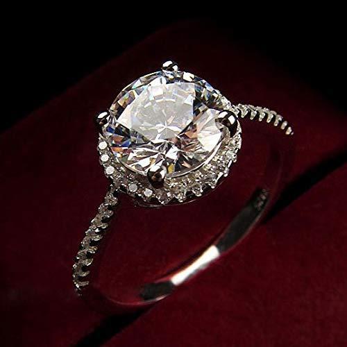 Yuren Womens Vintage White Diamond Silver Engagement Wedding Band Ring (US Code 6)