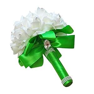 YJYDADA Wedding Bouquet,Crystal Roses Pearl Bridesmaid Wedding Bouquet Bridal Artificial Silk Flowers 28