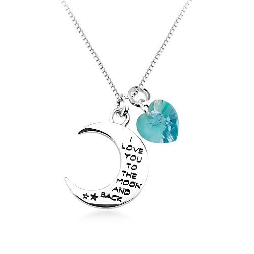 I Love You To The Moon And Back Necklace Heart Made With Swarovski Elements (Blue Zircon)