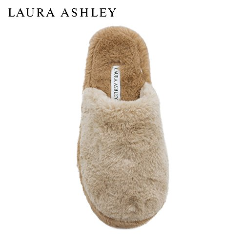 Laura Ashley Ladies Plush Pillow Cushioned Wedge Slippers (See More Colors and Sizes) Tan/Carmel B2Xqx