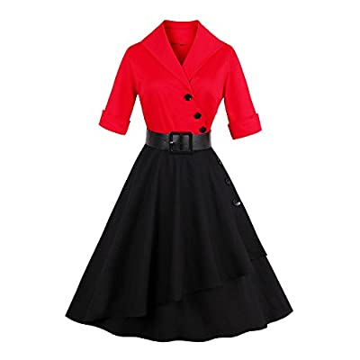 ZAFUL Women 50s Vintage 3/4 Sleeve V Neck Swing Party Dress with Bow Ribbon Belt