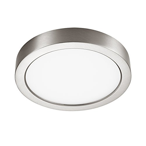 GetInLight Round 6-inch Dimmable Flush Mount Ceiling Fixture, (2nd Generation), 11 Watt, Brushed Nickel Finish, 3000K Soft White, 65W Replacement, Damp Location Rated, ETL Listed, IN-0306-1-SN