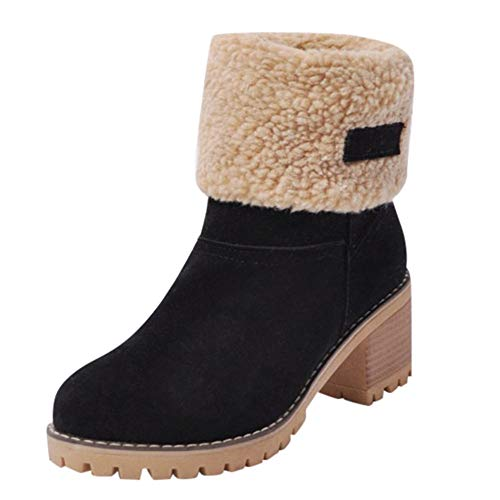 Sunmoot Suede Warm Snow Ankle Bootie Women Winter Chunky Square High Heel Round Toe Shoes