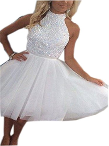 Beaded Short Dress Halter Dress (ALW White Beaded Halter Short Mini Homecoming Prom Dress ALW018WE-US8)