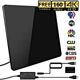 [2019 Upgraded] HDTV Antenna,Indoor Digital TV Antennas Amplified 160+ Miles Range Smart Amplifier Signal Booster for 1080P 4K Free TV Channels, Amplified 17ft Coax Cable