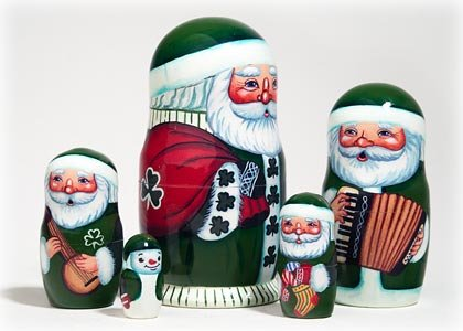"Made in Russia Authentic Irish Santa Nesting Doll 5pc./5"" Saint Nicholas Collectible Babushka Russian Doll top quality 100% Guaranteed! by Golden Cockerel (Image #2)"