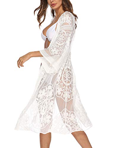 Womens 3/4 Sleeve Floral Crocheted Chiffon Mesh Cover Up White Lace Kimono Cardigan Duster ()
