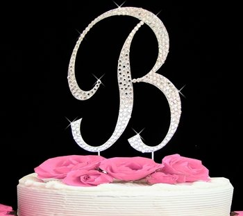 Completely Covered Swarovski Crystal Monogram Wedding Cake Toppers Topper
