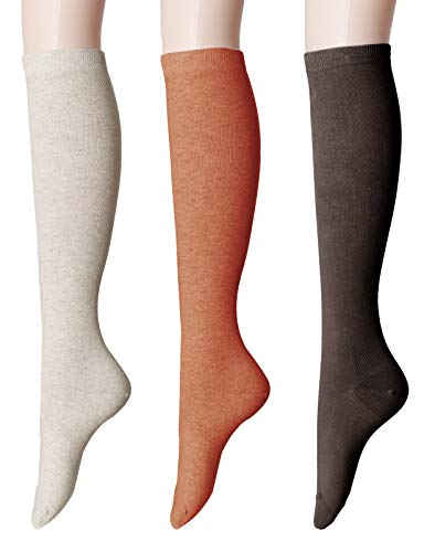 Womens Soft Opaque Knee High - OSABASA Women Knee High Socks - Novelty Soft Opaque Knee Socks for Women SET5 (KWMS0192)
