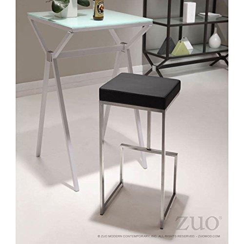 - Zuo Modern 300045 Darwen Counter Stool in Black Finish, Made from 100% stainless steel and a plush leatherette seat, Perfect mix of comfort and sophistication, 250 lbs. weight capacity