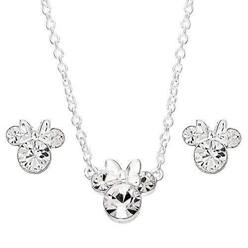 Disney Minnie Mouse Crystal Necklace and Stud Earrings and Set; Silver Plated Jewelry for Women