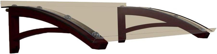 BELLHOUSE COPERTURE h/älzern Vordach Modell Legno Onda DUNKEL NUSS TIEFE 90 H/ÖHE 42 BREITE 150 ZM TRANSPARENT