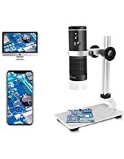 Jiusion WiFi USB Digital Microscope 50 to 1000x Wireless Magnification Endoscope 8 LED Mini HD Camera with Updated Stand Portable Case, Compatible with iPhone iPad Android Mac Windows Linux