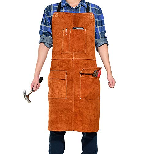 "LEASEEK Leather Welding Work Apron - Heat Resistant & Flame Resistant Bib Apron, Flame Retardant Heavy Duty BBQ Apron, Adjustable One Size Fit Most - 24"" X 36"",Brown (Brown)"