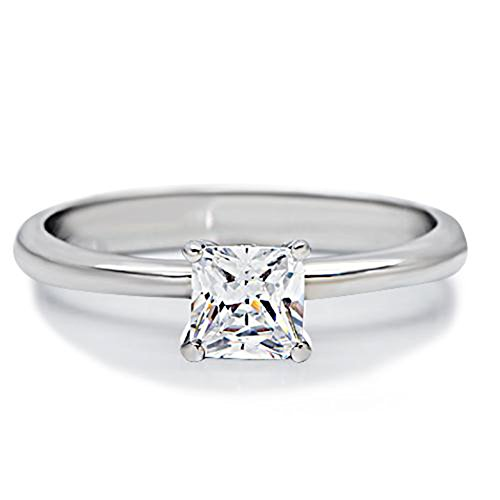 (Brilliant 0.7ct Princess Cut Cubic Zircon AAA CZ Stainless Steel Engagement Ring TK202 (6))
