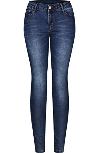 2LUV Women's Stretchy 5 Pocket Skinny Jeans Medium Wash (Back Skinny Jeans)