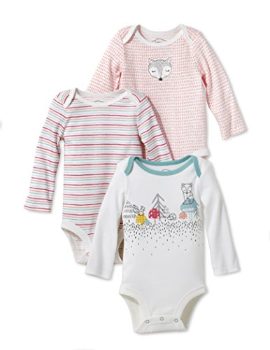 Lamaze Baby Organic 3 Pack Longsleeve Bodysuits, Coral, 6M