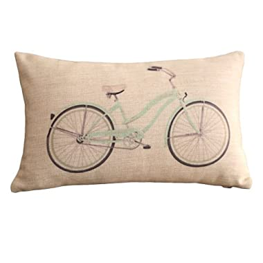 Clear Bicycle Print Rectangular Throw Pillow Covers 30CMx45CM Lumbar Cushions Linen Decorative Pillow Covers (green)