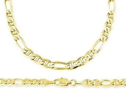 Figarucci Bracelet - 14k Yellow Gold Figaro Necklace Figarucci Chain Link Solid 4.7mm , 22 inch