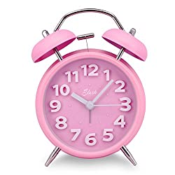 Slash 4 Vintage Retro Old Fashioned 3D Digitals Quiet Non-ticking Sweep Second Hand, Quartz Analog Clock, Battery Operated, Loud Alarm, Nightlight Function (Pink) S10017