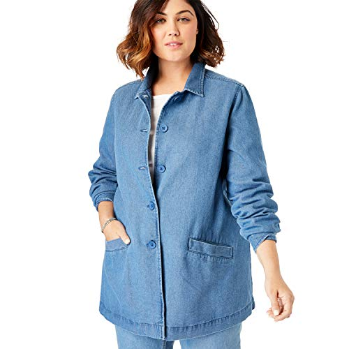 Woman Within Women's Plus Size Pleat-Back Denim Jacket - Medium Stonewash, 1X ()