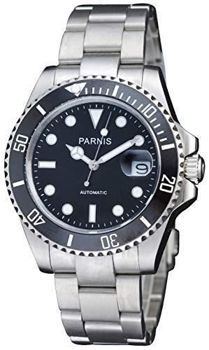 Fanmis Black Dial Sapphire Glass Ceramic Bezel Submariner Automatic Mechanical Men's Women's Silver - Diver Bracelet Bezel