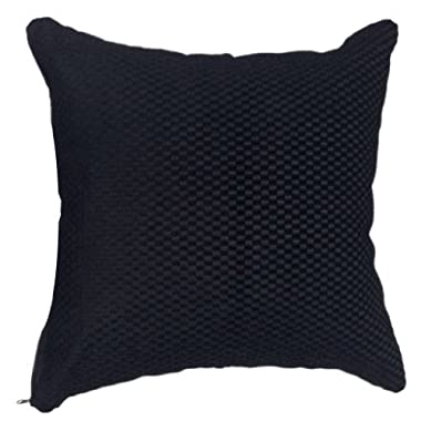 That's Perfect! Luxury Fabric 18 x18  Decorative Silk Throw Pillow Sham - COVER (Pure Black)