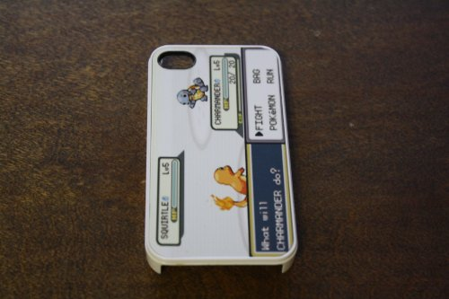(197wi4) Pokemon Battle Apple iPhone 4 / 4s White Case Gameboy Charmander Squirtle