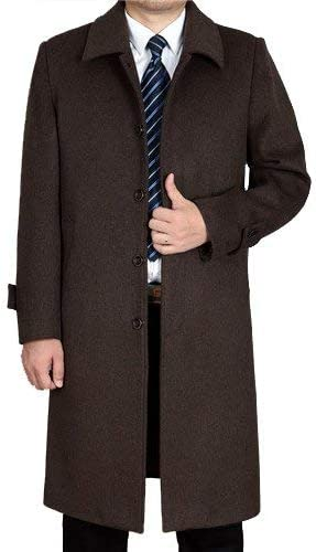 Avory Mens Wool Coats /& Jackets Winter Cashmere Jacket Man Long Section Single Breasted Overcoat Turn-Down Collar Casual Woolen Coat,Medium,Coffee