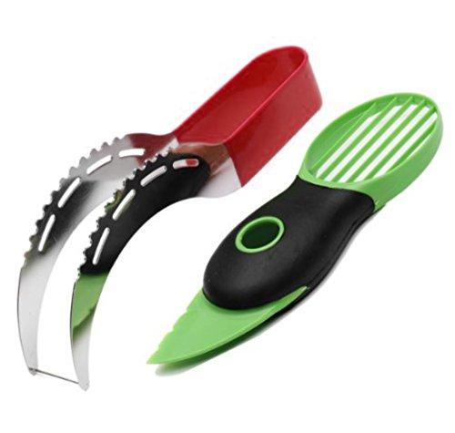 3 in 1 Watermelon Slicer and Avocado slicer set - as Seen on TV 304 Stainless Steel Corer & Server Knife