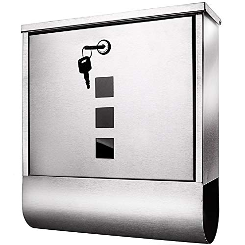 (Voluker Wall Mounted Mailbox Stainless Steel Mailbox Locking Vertical Mailbox Modern Postbox Silver)