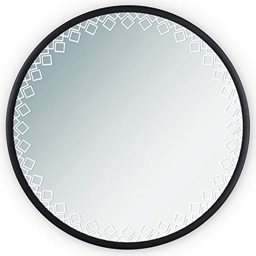 SRIWATANA Round Wall Mirror with Protective Rubber Frame, 24-Inch Large Bathroom Vanity -