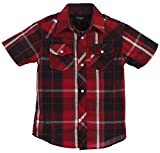 Gioberti Boys Casual Western Plaid Pearl Snap Short Sleeve Shirt, Red/Black / White Line : Size 7