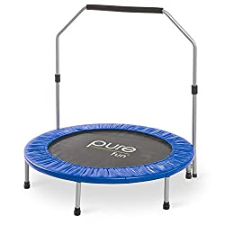 "Pure Fun 40"" Mini Rebounder Trampoline With Adjustable Handrail, Ages 13+"
