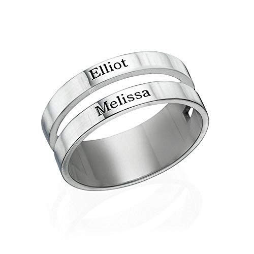 MyNameNecklace Personalized Ring with Engraved Two Name - 925 Sterling Silver Custom Jewelry
