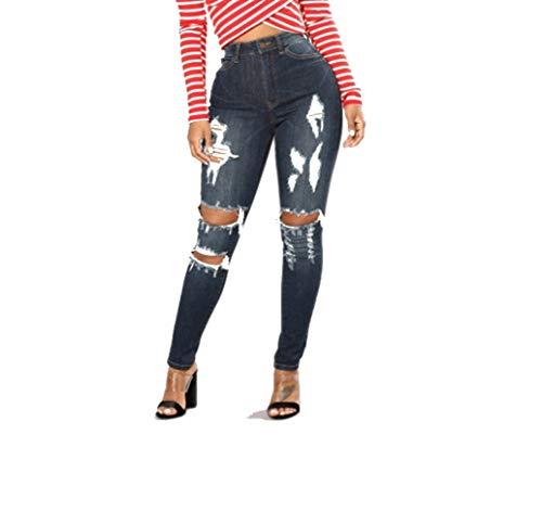 Deshilachados DAMENGXIANG Mujer Pantalones Elásticos Marino Jeans De Pitillo Azul SxqxaIOH