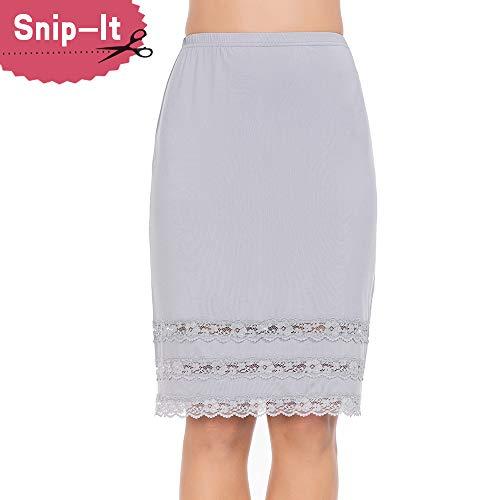 Half Slips for Women Underskirt Dress Extender Lace Trim Knee Length Midi Skirt Gray Large